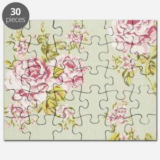 elegant colorful roses vintage floral Puzzle
