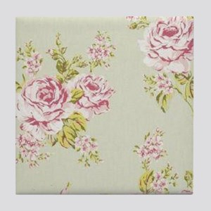 elegant colorful roses vintage floral Tile Coaster