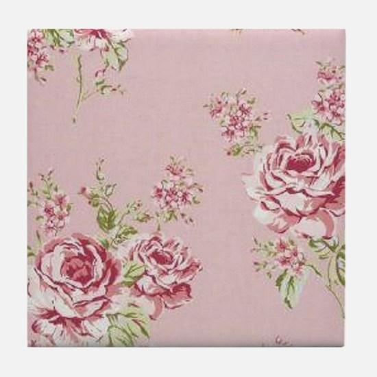 elegant colorful roses vintage floral Tile Coaster