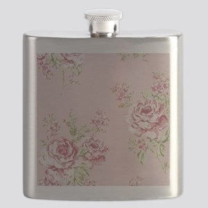 elegant colorful roses vintage floral Flask