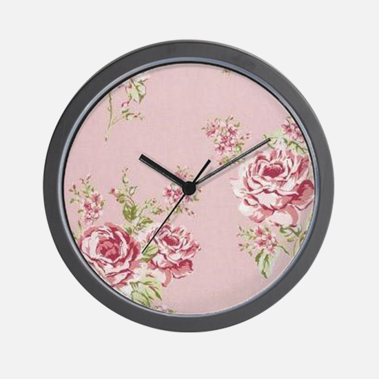 elegant colorful roses vintage floral Wall Clock