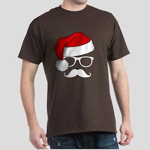 Christmas Mustache Nerd Dark T-Shirt