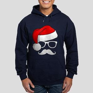 Christmas Mustache Nerd Hoodie (dark)