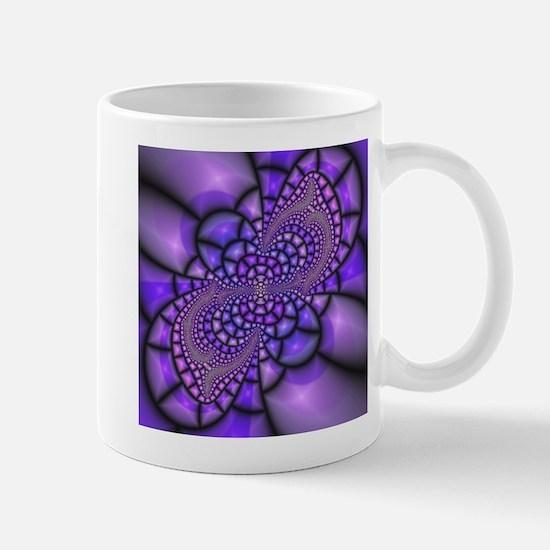 Purple Mosaic Fractal Flower Mugs