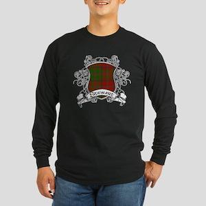 Stewart Tartan Shield Long Sleeve Dark T-Shirt