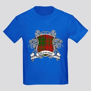 Stewart Tartan Shield Kids Dark T-Shirt