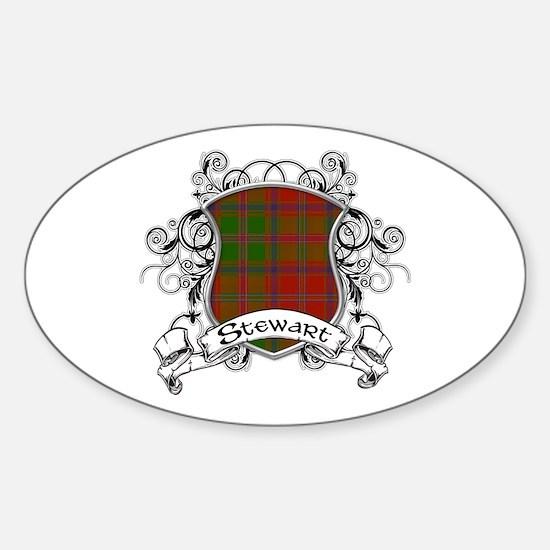 Stewart Tartan Shield Sticker (Oval)