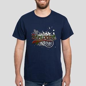 Stewart Tartan Grunge Dark T-Shirt