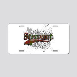 Stewart Tartan Grunge Aluminum License Plate