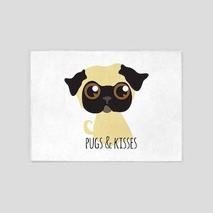 Pugs & Kisses 5'x7'Area Rug