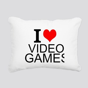 I Love Video Games Rectangular Canvas Pillow