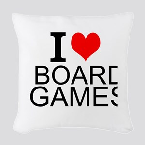 I Love Board Games Woven Throw Pillow