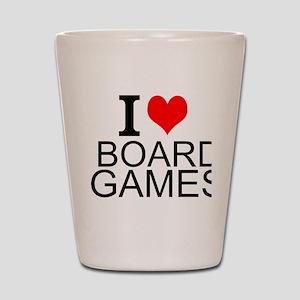 I Love Board Games Shot Glass