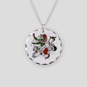 Stewart Tartan Lion Necklace Circle Charm