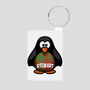 Stewart Tartan Penguin Aluminum Photo Keychain