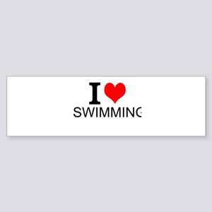 I Love Swimming Bumper Sticker