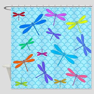 Dragonflies Cute Blue Shower Curtain