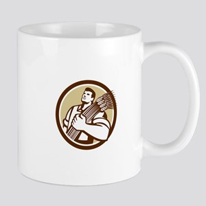 Wheat Farmer Looking Up Circle Retro Mugs