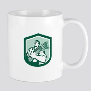Wheat Farmer Looking Up Shield Retro Mugs