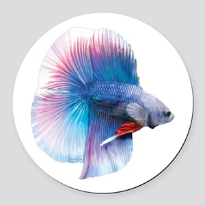 Double Tail Betta Round Car Magnet