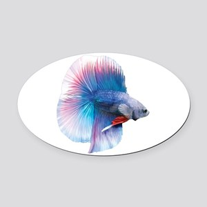 Double Tail Betta Oval Car Magnet