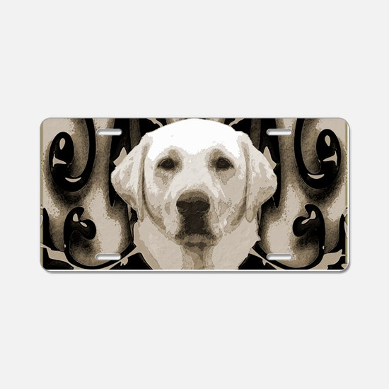A rustic yellow lab Aluminum License Plate