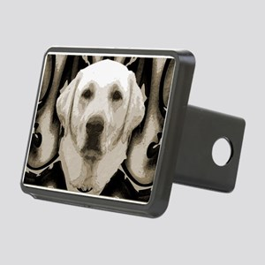 A rustic yellow lab Rectangular Hitch Cover