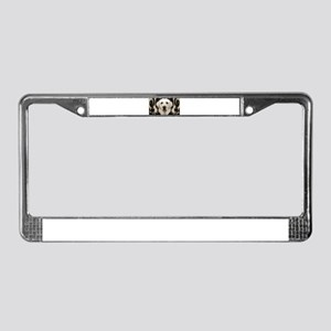 A rustic yellow lab License Plate Frame