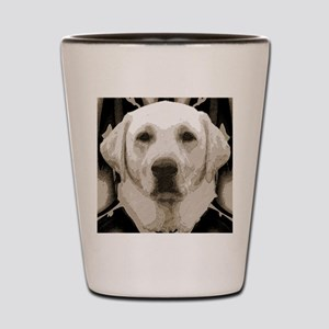 A rustic yellow lab Shot Glass