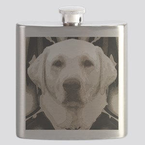 A rustic yellow lab Flask