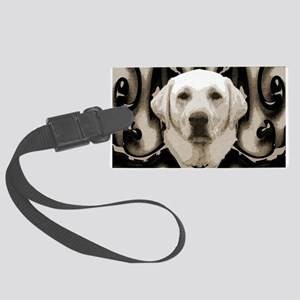 A rustic yellow lab Large Luggage Tag