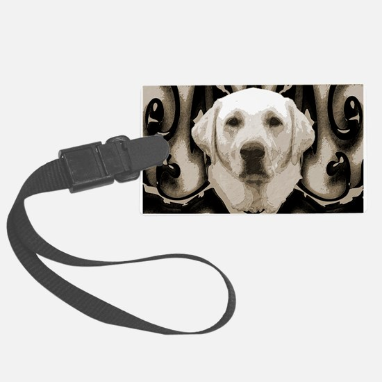 A rustic yellow lab Luggage Tag