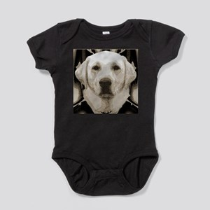A rustic yellow lab Baby Bodysuit