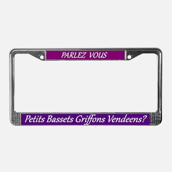 Parlez Vous Pbgv License Plate Frame