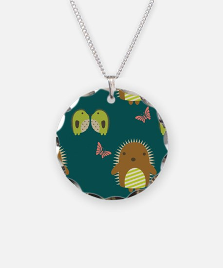 Cute Teal Hedgehogs Necklace
