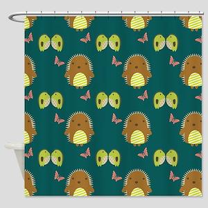 Cute Teal Hedgehogs Shower Curtain