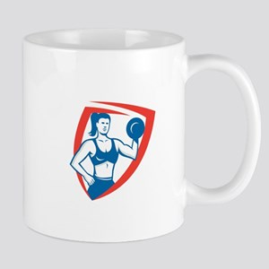 Personal Trainer Female Lifting Dumbbell Retro Mug