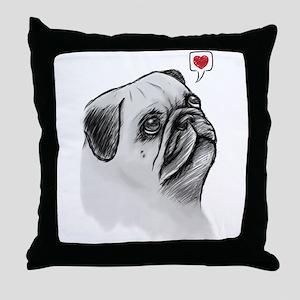 PugSketch_PC Throw Pillow
