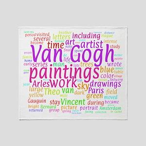 Van Gogh Word Cloud Throw Blanket