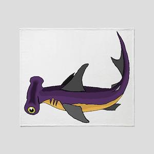 Purple Hammerhead Shark Throw Blanket