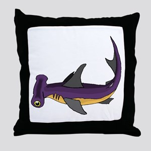 Purple Hammerhead Shark Throw Pillow