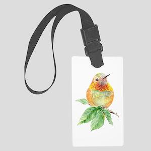 Rufous Hummingbird Watercolor Large Luggage Tag