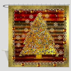 Metal Art Holiday Tree Shower Curtain