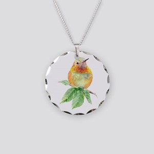 Rufous Hummingbird Necklace Circle Charm