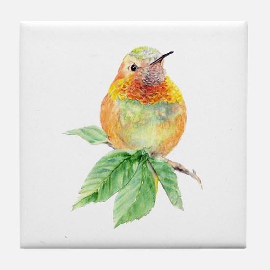 Rufous Hummingbird Watercolor Bird Tile Coaster