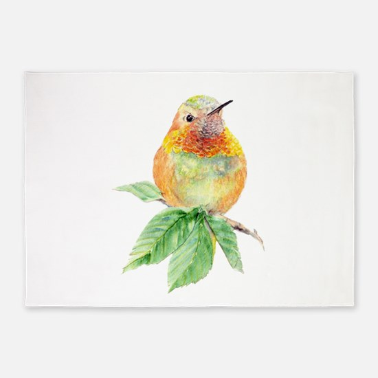 Rufous Hummingbird Watercolor Bird Nature Art 5'x7