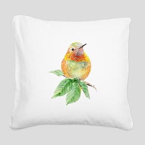 Rufous Hummingbird Watercolor Bird Nature Art Squa