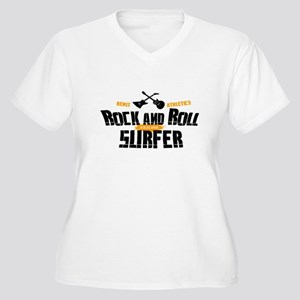 Rock and Roll Surfer Women's Plus Size V-Neck T-Sh