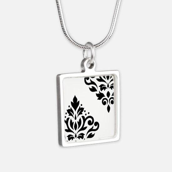 Scroll Damask Art I Bw Necklaces