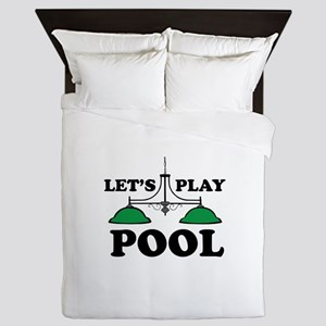 Lets Play Pool Queen Duvet